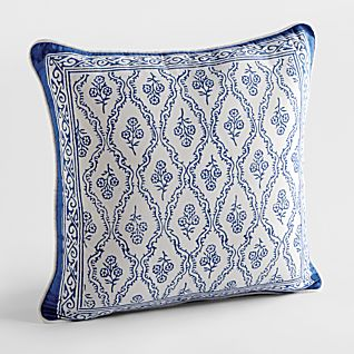 View Blue Trellis Hand-printed Reversible Throw Pillow image