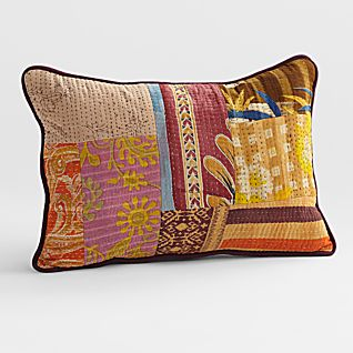 View Vintage Kantha Pillow - Rectangle image