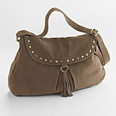 Boho-Hobo Suede Bag, Crafted in Uttar Pradesh, India