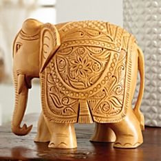 Hand-Carved Elephant Festival Sculpture