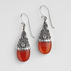 Handcrafted Crowned Carnelian Earrings