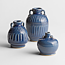 Blue Thai Celadon Vases - Set of 3
