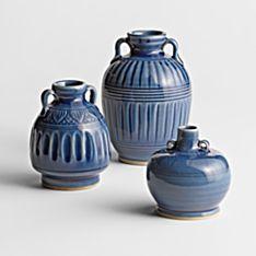 Blue Thai Celadon Vases - Set of 3