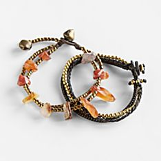 Three Sisters Carnelian Bracelets - Set of 2, Handmade in Chiang Thailand