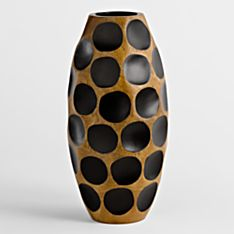 Handcrafted Thai Mango-Wood Vase - Honeycomb