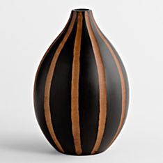 Handcrafted Thai Mango-Wood Vase - Teardrop Stripe