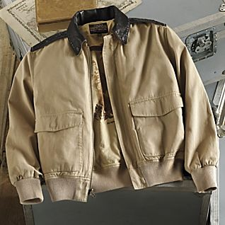 View Pacific Theater A-2 Cotton Bomber Jacket - Dark Brown Leather image