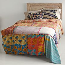 Vintage Kantha Quilt with Indigo Black & Beige Shams
