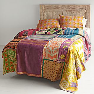 Vintage Kantha Quilt with Orange & Yellow Shams
