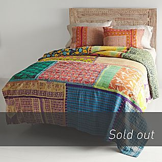 Vintage Kantha Quilt with Orange & Red Shams