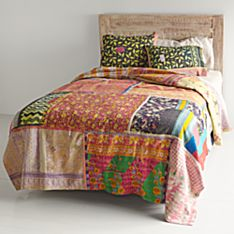 Vintage Kantha Quilt with Black & Yellow Shams