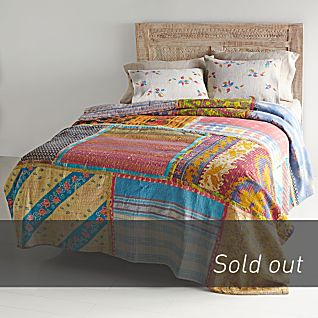 Vintage Kantha Quilt with Ivory Shams