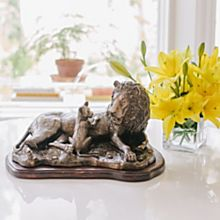 ''Together'' Signed Lion and Cub Bronze Sculpture