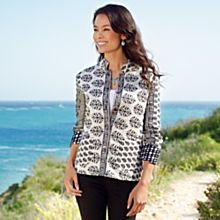 Women's Black-and-White Reversible Indian Jacket