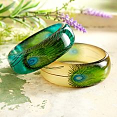 Indian Hand-Painted Peacock Feather Bangles - Set of 2