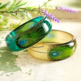 View Hand-painted Peacock Feather Bangles - Set of 2 image