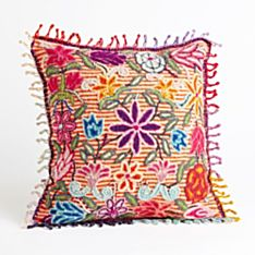 Handcrafted Peruvian Floral Pillow - Striped
