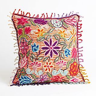 View Peruvian Floral Pillow - Striped image