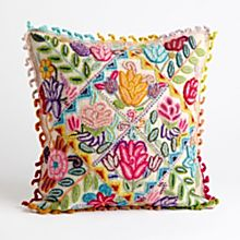 Handcrafted Peruvian Floral Pillow - White