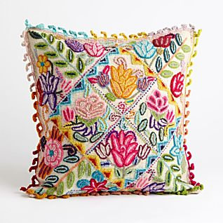 View Peruvian Floral Pillow - White image