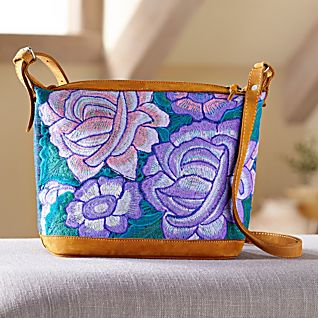 Mexican Woven Floral and Leather Bag