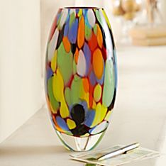 Handcrafted Brazilian Carnival Art Glass Vase