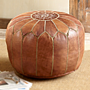 Moroccan Medina Leather Pouf