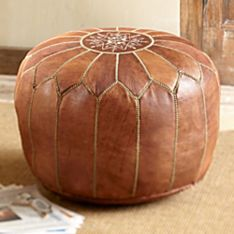 North African Moroccan Medina Leather Pouf