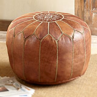 View Moroccan Medina Leather Pouf image