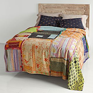 View Vintage Kantha Quilt with Navy Blue & Burgundy Shams image