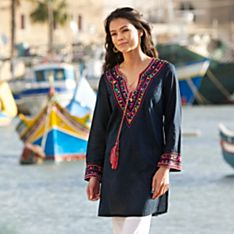 100% Cotton Pia Pauro Hand-Embroidered Tunic