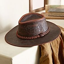 American Tooled Leather Hat, Made in the USA