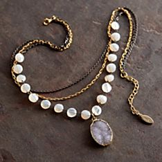 Chalcedony and Druzy Necklace