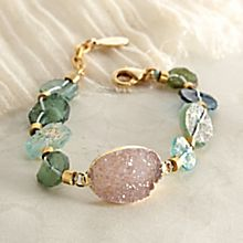 Roman Glass and Druzy Bracelet