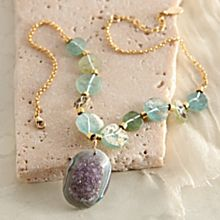 Roman Glass and Druzy Necklace