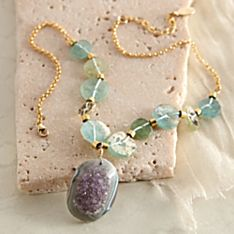 Handcrafted Roman Glass and Druzy Necklace