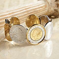 Handcrafted Italian Lire Cuff Bracelet