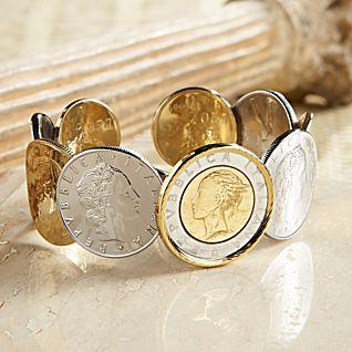 Italian Lire Cuff Bracelet