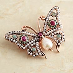 Handcrafted Italian Pearl and Gemstone Butterfly Pin