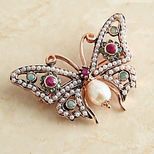 View Italian Pearl and Gemstone Butterfly Pin image