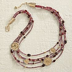 Handcrafted Italian Multistrand Garnet and Coin Necklace