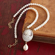 Handcrafted Italian Cameo and Pearl Necklace