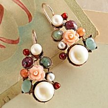 Italian Gemstone Floral Earrings