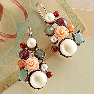 View Italian Gemstone Floral Earrings image