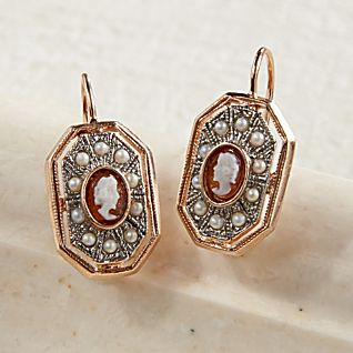 View Italian Cameo and Pearl Earrings image
