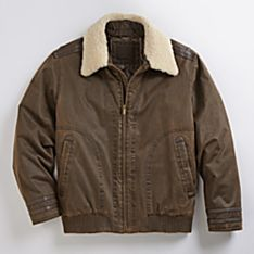 Men's Shearling Collar Down Bomber Jacket