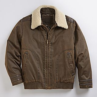 View Shearling Collar Down Bomber Jacket image