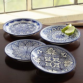 Set of 4 Tunisian Hand-painted Side Plates