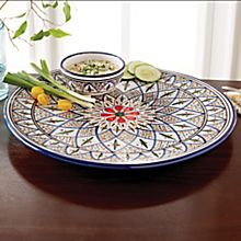 North African Tunisian Hand-Painted Chip and Dip Set