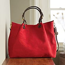 Italian Woven Suede Tote Bag